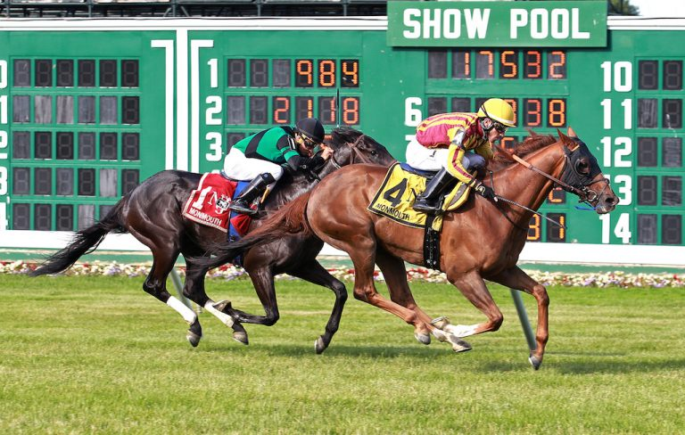 Irish Strait #4 with Antonio Gallardo riding won the Dan Horn Handicap at Monmouth Park in Oceanport, New Jersey on Sunday June 17, 2018.  Photo By Bill Denver/EQUI-PHOTO