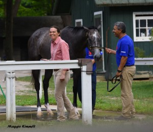 Alice Clapham and Rafa Fernandez with Ascend after his win at Saratoga, July 23, 2016