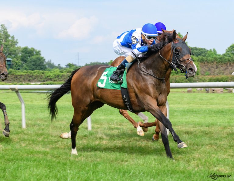 Peach of a Gal winning The Christiana Stakes at Delaware Park on 6/20/18