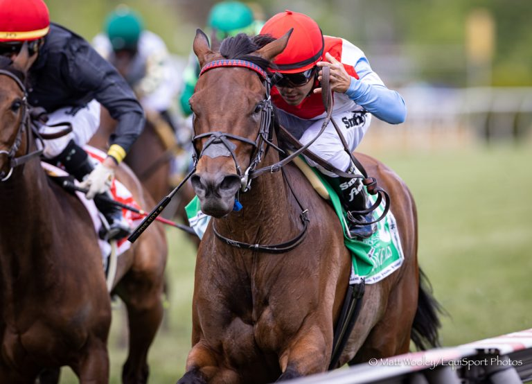 Mean Mary (Scat Daddy), Luis Saez up, wins the Gallorette Stakes (G3) at Pimlico Park 5.15.21. Trainer, Graham Motion. Owner, Alex Campbell.